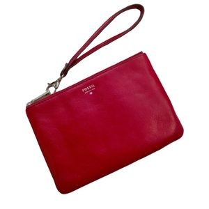 Fossil Red Zippered Wristlet